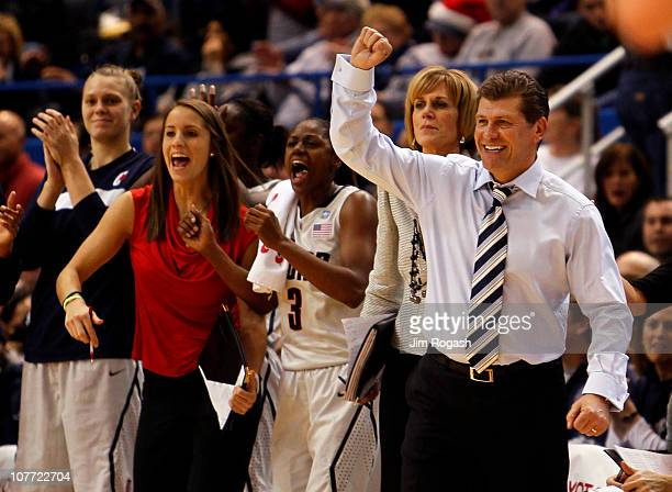 Coach Geno Auriemma of Connecticut reacts in the first half against Florida State on December 21 2010 in Hartford Connecticut