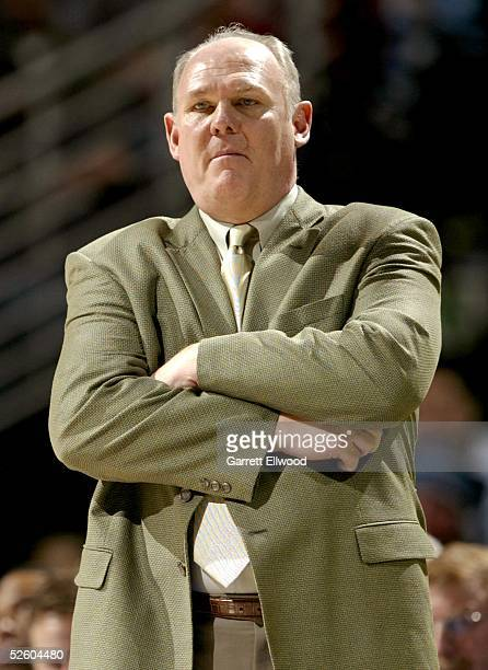 Coach George Karl of the Denver Nuggets watches during the game at Pepsi Center on March 13 2005 in Denver Colorado The Suns won 106101 NOTE TO USER...