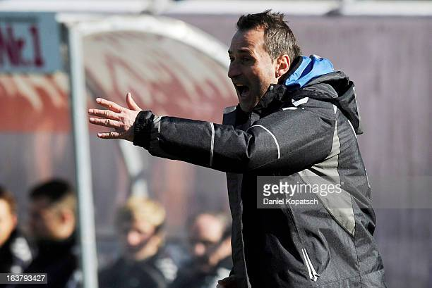 Coach Georgi Donkov of Burghausen reacts during the third Bundesliga match between 1. FC Heidenheim and Wacker Burghausen at Voith-Arena on March 16,...