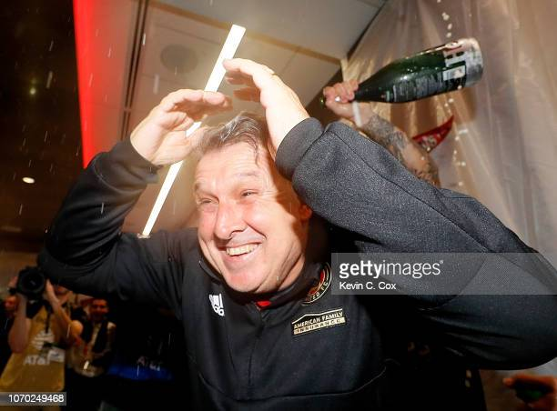 Coach Gerardo Martino of the Atlanta United celebrates their 20 win over the Portland Timbers during the 2018 MLS Cup between Atlanta United and the...