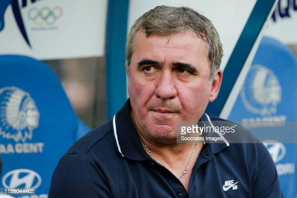 Coach Gheorghe Hagi of FC Viitorul during the UEFA Europa League match between Gent v FC Viitorul Constanta at the Ghelamco Arena on July 25 2019 in...
