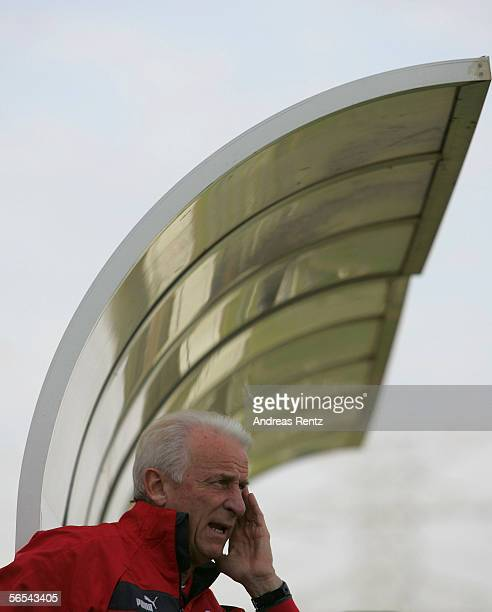 Coach Giovanni Trapattoni of Stuttgart gestures during the test match between VfB Stuttgart and Hansa Rostock at the Dubai Sports Club on January 8...