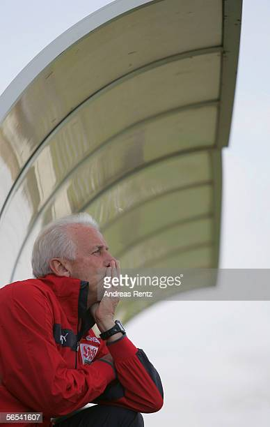 Coach Giovanni Trapattoni of Stuttgart looks on during the test match between VfB Stuttgart and Hansa Rostock at the Dubai Sports Club on January 8...