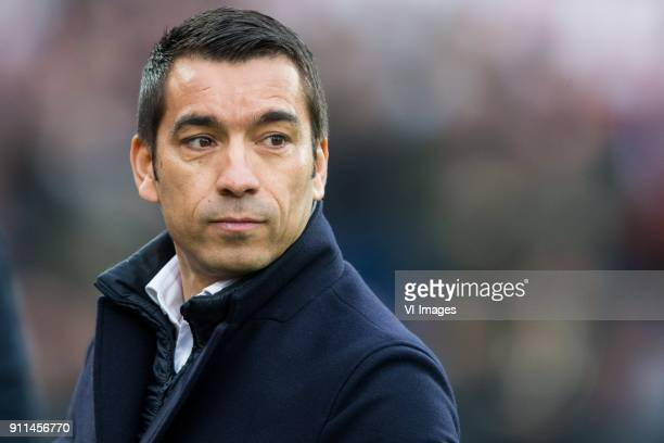 coach Giovanni van Bronckhorst during the Dutch Eredivisie match between Feyenoord Rotterdam and ADO Den Haag at the Kuip on January 28 2018 in...
