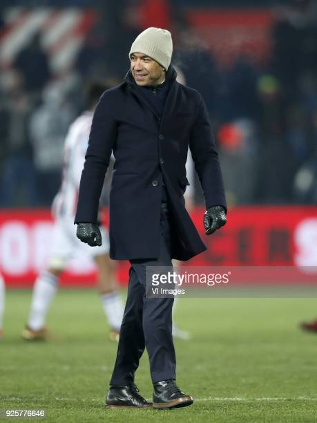 coach Giovanni van Bronckhorst during the Dutch Toto KNVB Cup semi final match between Feyenoord Rotterdam and Willem II Tilburg at the Kuip on...