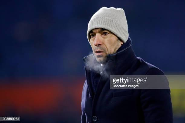 coach Giovanni van Bronckhorst of Feyenoord during the Dutch KNVB Beker match between Feyenoord v Willem II at the Stadium Feijenoord on February 28...