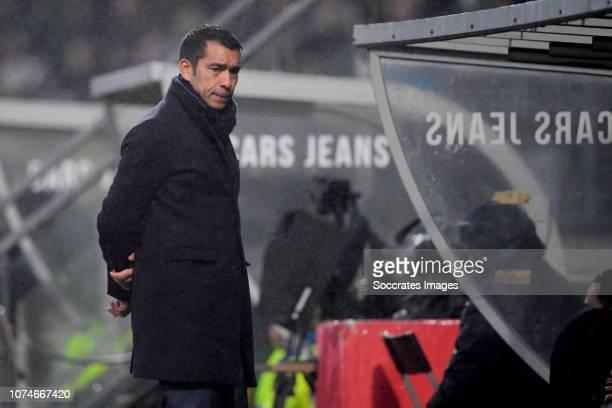 coach Giovanni van Bronckhorst of Feyenoord during the Dutch Eredivisie match between ADO Den Haag v Feyenoord at the Cars Jeans Stadium on December...