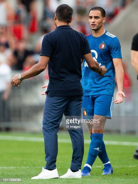 coach Giovanni van Bronckhorst of Feyenoord Sofyan Amrabat of Feyenoord during the Johan Cruijff Shield match between between PSV Eindhoven and...