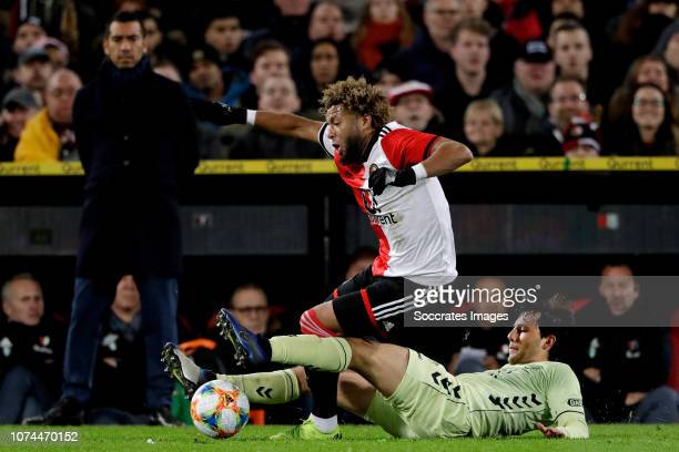 coach Giovanni van Bronckhorst of Feyenoord Sofyan Amrabat of Feyenoord Joris van Overeem of FC Utrecht during the Dutch KNVB Beker match between...