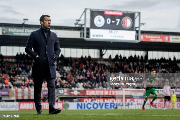 coach Giovanni van Bronckhorst of Feyenoord stadium of Sparta 07 scoreboard during the Dutch Eredivisie match between Sparta v Feyenoord at the...