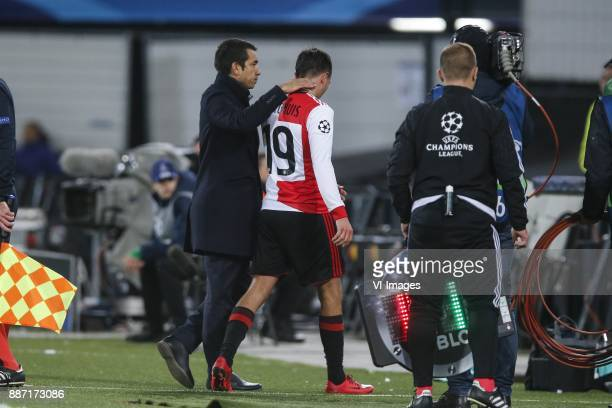 coach Giovanni van Bronckhorst Steven Berghuis of Feyenoord during the UEFA Champions League group F match between Feyenoord Rotterdam and SSC Napoli...