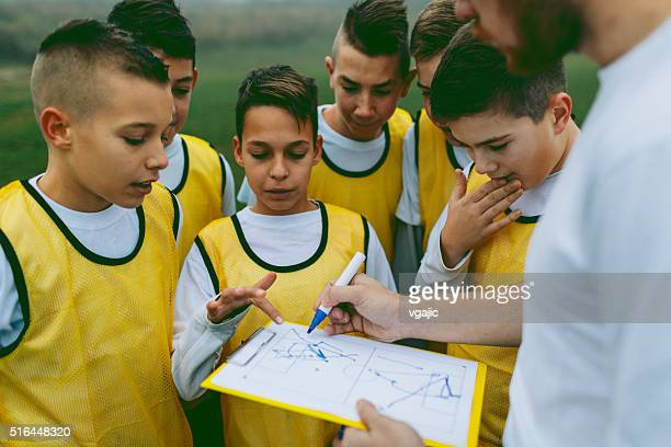 Coach Giving Instruction To His Kids Soccer Team