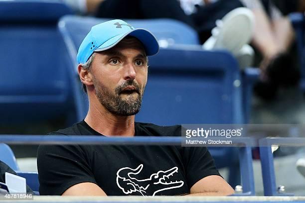 Coach Goran Ivanisevic watches the Men's Singles Semifinals match between Roger Federer of Switzerland and Stan Wawrinka of Switzerland on Day Twelve...