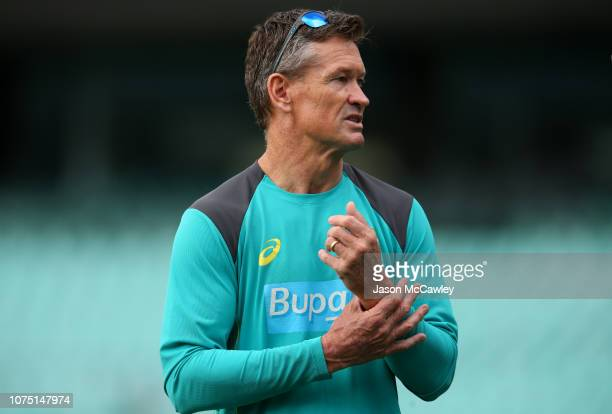 Coach Graeme Hick looks on during day four of the International Four Day tour match between the Cricket Australia XI and India at Sydney Cricket...
