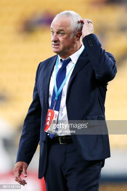 Coach Graham Arnold of Sydney FC scratches his head during the round 12 ALeague match between the Wellington Phoenix and Sydney FC at Westpac Stadium...