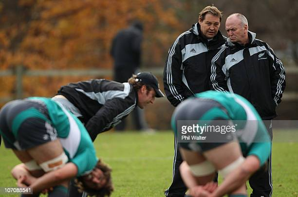 Coach Graham Henry and Assistant Coach Steve Hansen during a New Zealand All Blacks Training Session at the University of Bath on November 23 2010 in...