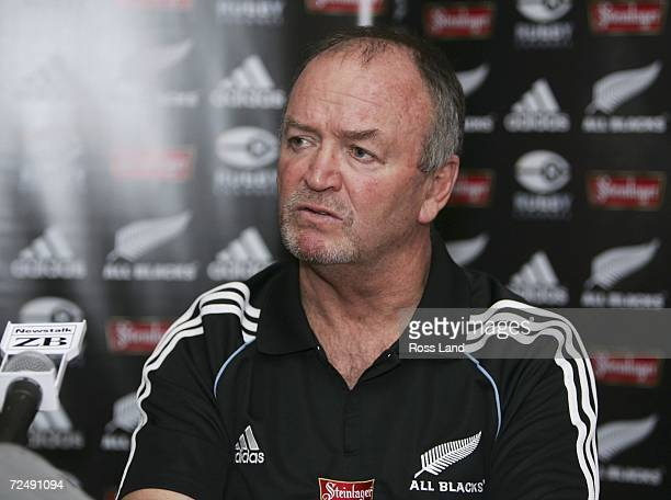 Coach Graham Henry of the All Blacks speaks at the captains press conference at the team hotel on November 10 2006 in Lyon France The New Zealand All...