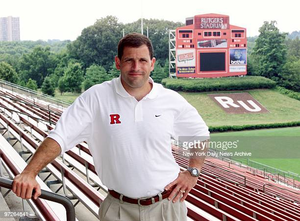 Coach Greg Schiano in the stands of Rutgers Stadium where he is preparing to tackle the 2001 season It is his first year as head coach of the...
