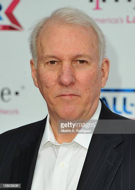 NBA coach Gregg Popovich arrives to the TMobile Magenta Carpet at the 2011 NBA AllStar Game on February 20 2011 in Los Angeles California