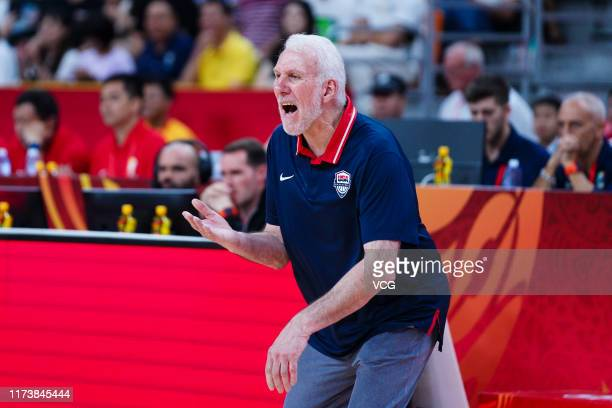 Coach Gregg Popovich of USA reacts during FIBA World Cup 2019 quarterfinal match between the United States and France at Dongguan Basketball Center...