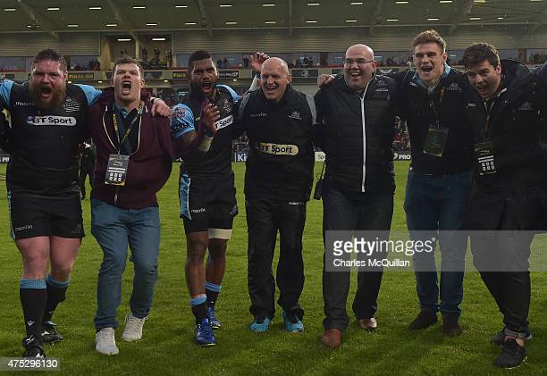 Coach Gregor Townsend celebrates after the Guinness Pro 12 final match between Munster and Glasgow Warriors at Kingspan Stadium on May 30 2015 in...
