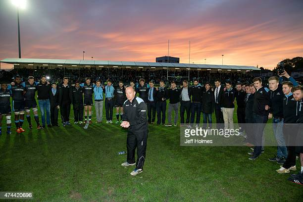 Coach Gregor Townsend of Glasgow giving his winning speech at end of the Pro12 Semi Final between Glasgow and Ulster at Scotstoun Stadium on May 22...