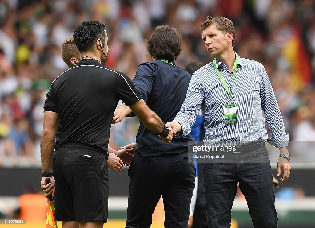 Coach Guido Streichsbier of Germany reacts after the UEFA Under19 European Championship match between U19 Germany and U19 Italy at Mercedes-Benz Arena on July 11, 2016 in Stuttgart, Germany.