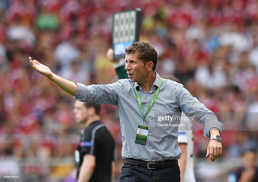 Coach Guido Streichsbier of Germany reacts during the UEFA Under19 European Championship match between U19 Germany and U19 Italy at Mercedes-Benz Arena on July 11, 2016 in Stuttgart, Germany.