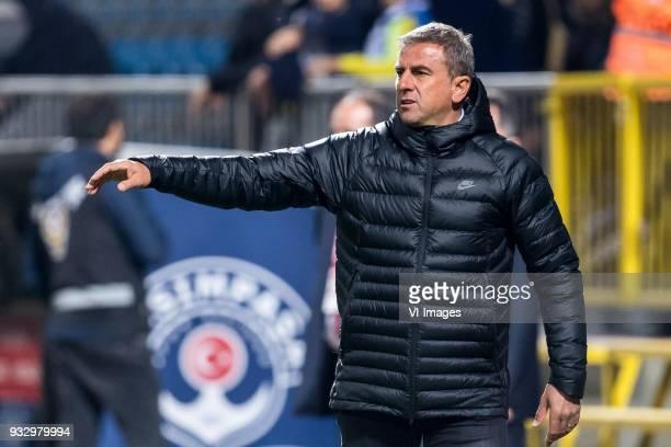coach Hamza Hamzaoglu of Antalyaspor during the Turkish Spor Toto Super Lig match between Kasimpasa AS and Antalyaspor AS at the Recep Tayyip...
