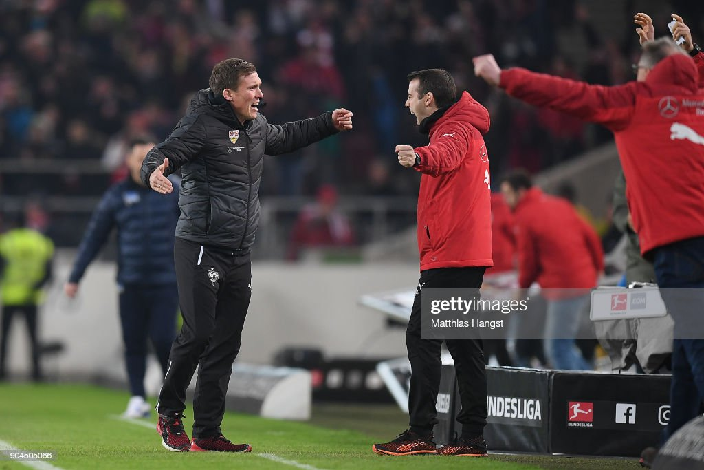 Coach Hannes Wolf of Stuttgart celebrates on the final whistle during the Bundesliga match between VfB Stuttgart and Hertha BSC at Mercedes-Benz Arena on January 13, 2018 in Stuttgart, Germany.