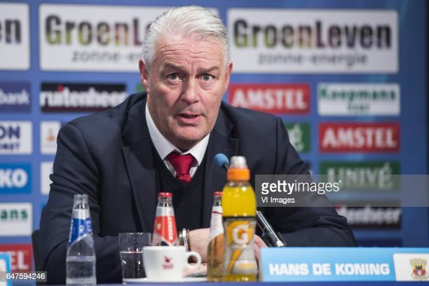 coach Hans de Koning of Go Ahead Eaglesduring the Dutch Eredivisie match between sc Heerenveen and Go Ahead Eagles at Abe Lenstra Stadium on March 03...