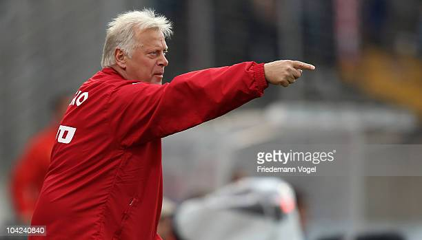 Coach HansGuenter Bruns of Oberhausen gives advise during the Second Bundesliga match between RW Oberhausen and VfL Bochum at the Niederrhein Stadium...