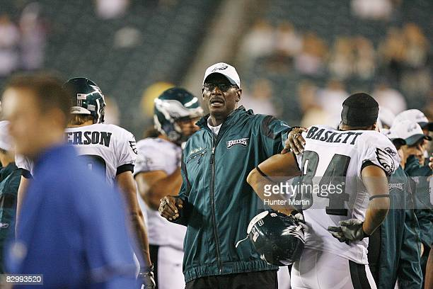 Coach Harold Carmichael of the Philadelphia Eagles stands on the sideline during a game against the Carolina Panthers on August 14 2008 at Lincoln...