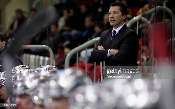 Coach Harold Kreis of DEG Metro Stars looks on during the DEL match between DEG Metro Stars and Augsburg Panther at the ISS Dome on February 12 2010...