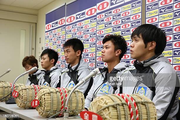 Coach Hatomi Nagaoka Kosuke Morozumi Tetsuro Shimizu Tsuyoshi Yamaguchi and Yusuke Morozumi of SC Karuizawa speak to the media after winning against...