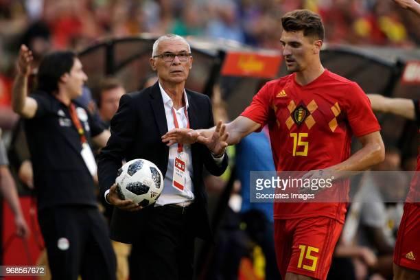 Coach Hector Cuper of Egypt, Thomas Meunier of Belgium during the International Friendly match between Belgium v Egypt at the Koning Boudewijnstadion...