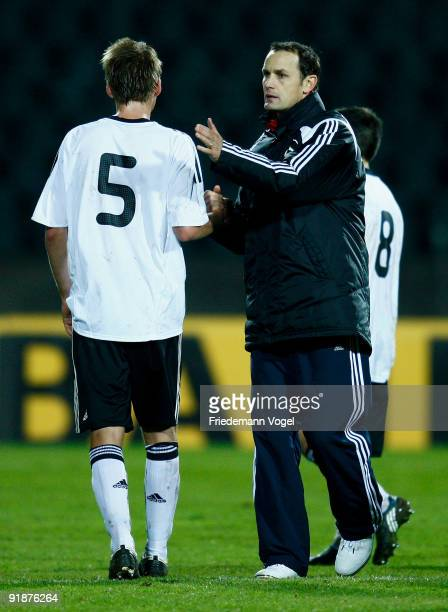 Coach Heiko Herrlich and Marc Hornschuh of Germany looks on after the U19 Euro Qualifier match between Turkey and Germany at the Stade Josy Barthel...