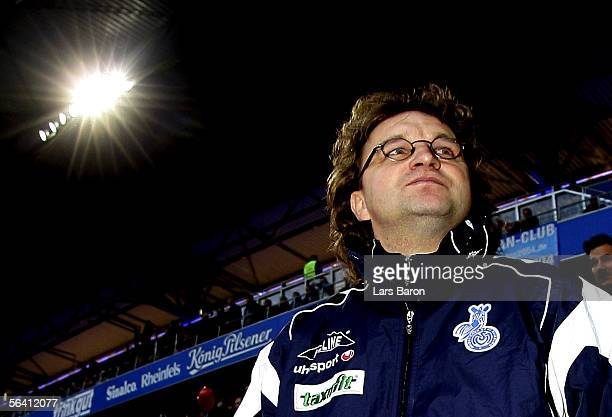 Coach Heiko Scholz of Duisburg is seen before the Bundesliga match between MSV Duisburg and Arminia Bielefeld at the MSV Arena on December 10 2005 in...