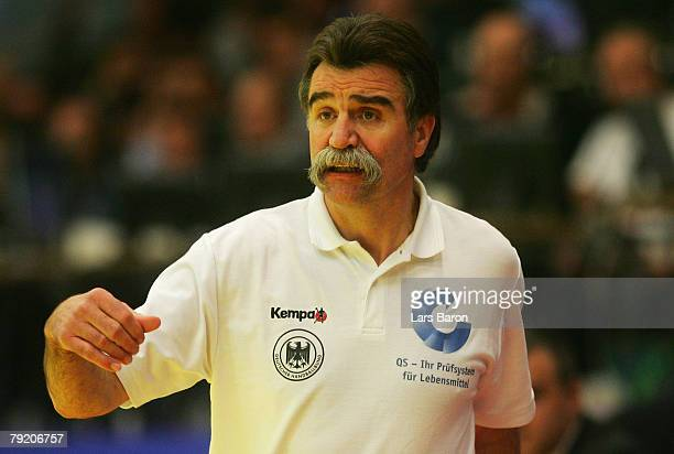 Coach Heiner Brand of Germany reacts during the Men's Handball European Championship main round Group II match between Germany and France at...