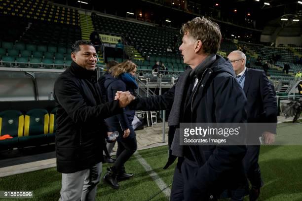 coach Henk Fraser of Vitesse coach Alfons Groenendijk of ADO Den Haag during the Dutch Eredivisie match between ADO Den Haag v Vitesse at the Cars...