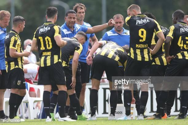 coach Henk Fraser of Vitesse Thomas Bruns of Vitesse Tim Matavz of Vitesse during the friendly match between Vitesse Arnhem and KV Oostende at...