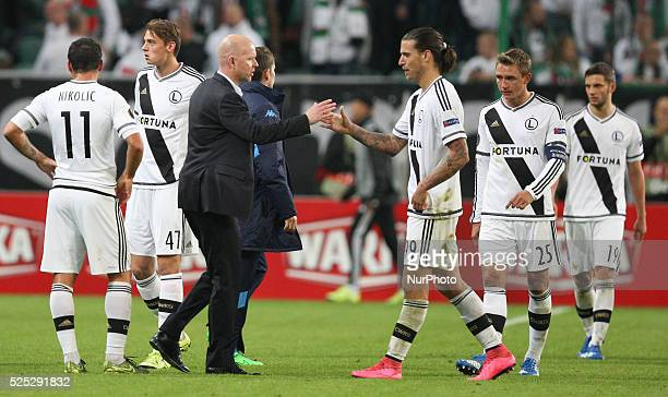 Coach Henning Berg Aleksandar Prijovic in action during Europa League game Legia Warsaw SSC Napoli in Warsaw on 1st October 2015