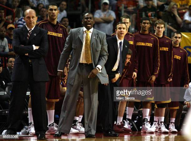 Coach Herb Sendek of the Arizona State Sun Devils looks down the court against the Syracuse Orange during the second round of the NCAA Division I...