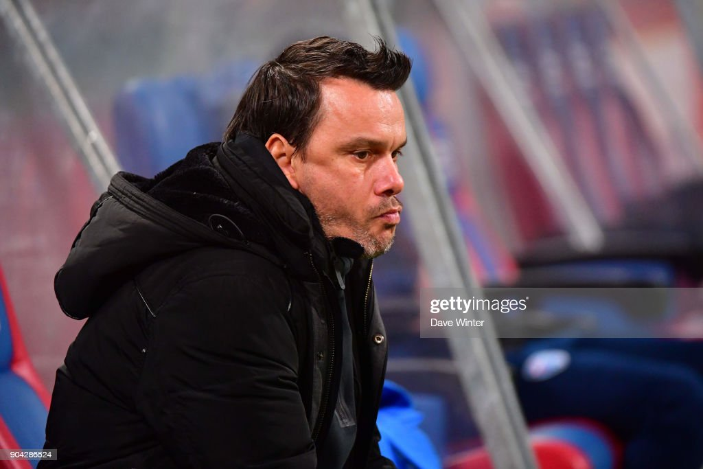 FBBP 01 coach Herve Della Maggiore during the Ligue 2 match between Paris FC and Bourg en Bresse (FBBP 01) at Stade Charlety on January 12, 2018 in Paris, France.