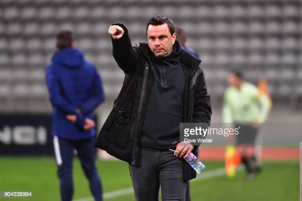 FBBP 01 coach Herve Della Maggiore during the Ligue 2 match between Paris FC and Bourg en Bresse at Stade Charlety on January 12 2018 in Paris France