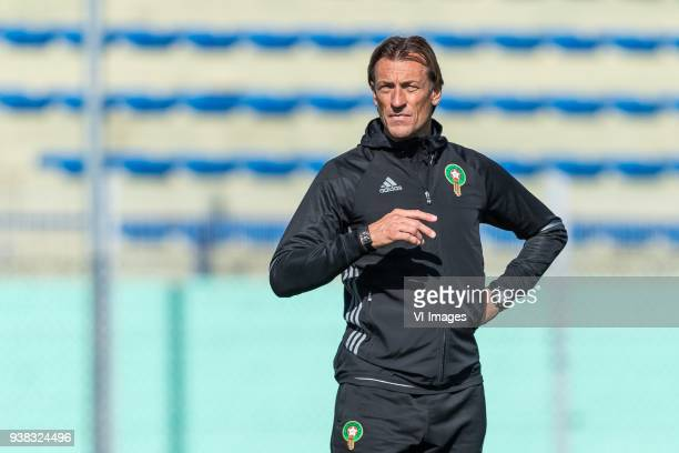 coach Herve Renard of Morocco during a training session prior to the International friendly match between Morocco and Oezbekistan in Cassablanca on...