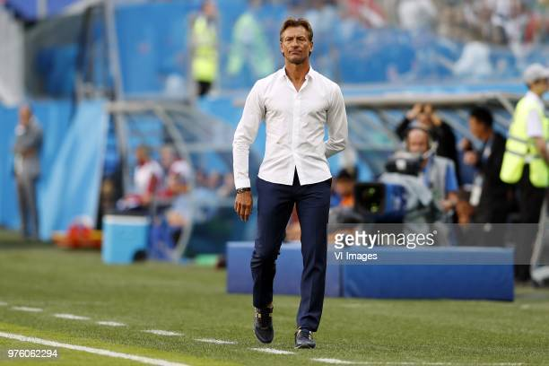 coach Herve Renard of Morocco during the 2018 FIFA World Cup Russia group B match between Morocco and IR Iran at the Saint Petersburg Stadium on June...