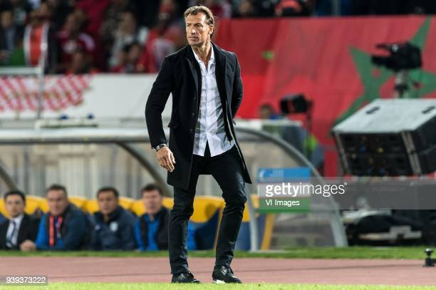 coach Herve Renard of Morocco during the international friendly match between Morocco and Uzbekistan at the Stade Mohammed V on March 27 2018 in...