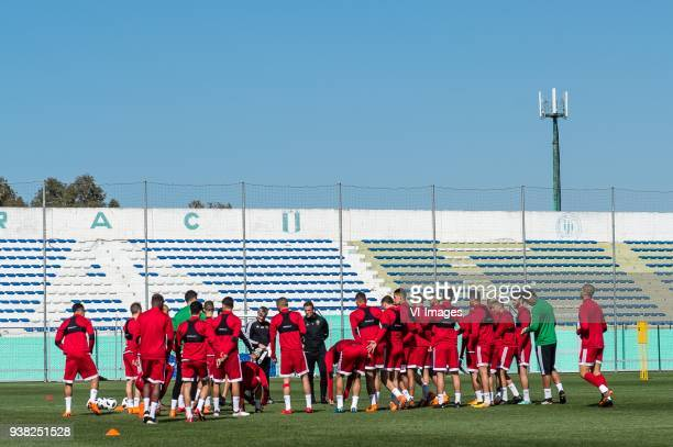 coach Herve Renard of Morocco with his players during a training session prior to the International friendly match between Morocco and Oezbekistan in...