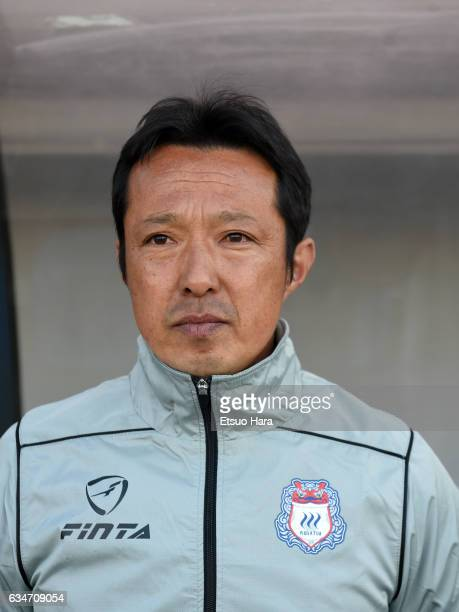 Coach Hitoshi Morishita of Thespa Kusatsu Gunma looks on prior to the preseason friendly between Omiya Ardija and Thespa Kusatsu Gunma at Nack 5...